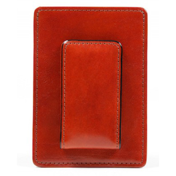 Bosca Front Pocket Money Clip Wallet in Cognac Old Leather