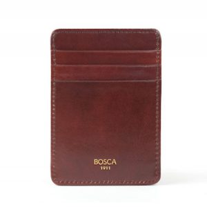 Bosca Front Pocket Money Clip Wallet in Dark Brown Old Leather
