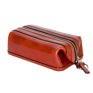 Bosca Zippered Toilery Kit in Cognac Old Leather