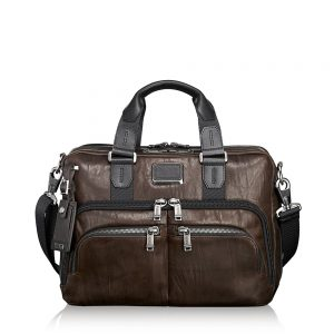 TUMI Albany Slim Commuter Brief Leather, Dark Brown