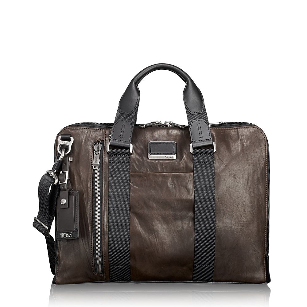 TUMI Aviano Slim Brief Leather Dark Brown
