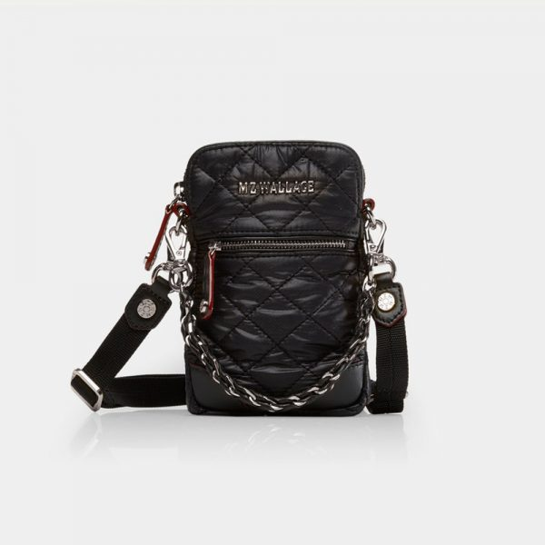 MZ Wallace Micro Crossbody, Black with Silver Hardware