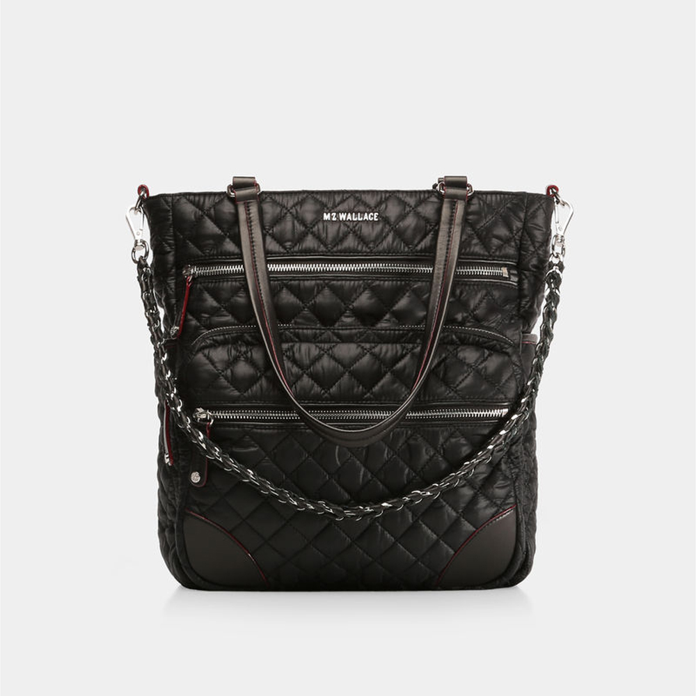 MZ Wallace Crosby Tote, Black with Silver Hardware