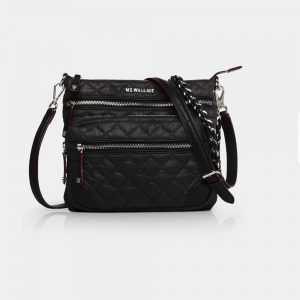 MZ Wallace Downtown Crosby Crossbody, Black with Silver Hardware