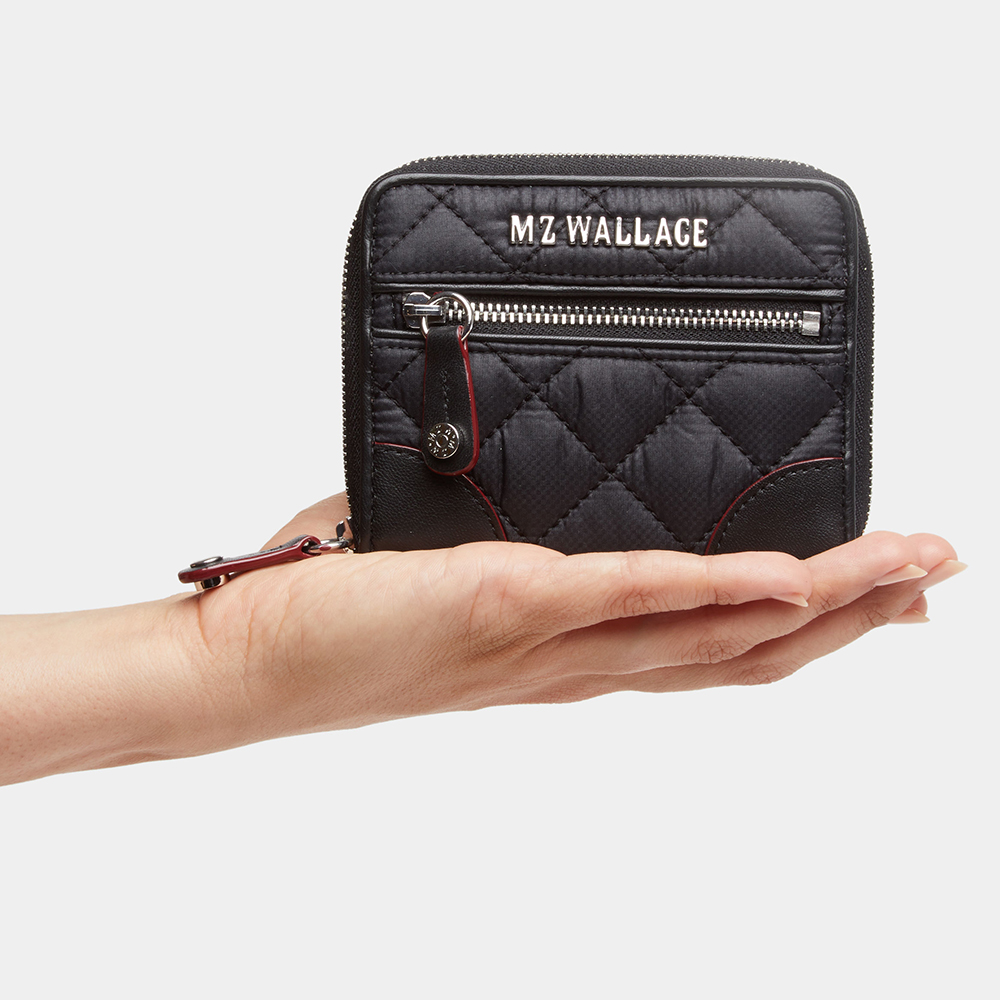 MZ Wallace Crosby Mini Wallet, Black with Silver Hardware