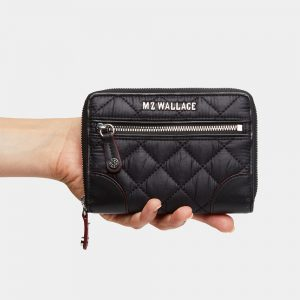 MZ Wallace Crosby Small Wallet, Black with Silver Hardware