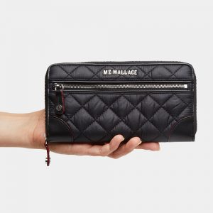 MZ Wallace Crosby Long Wallet, Black with Silver Hardware