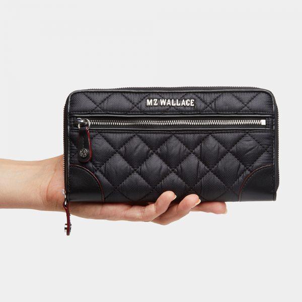 MZ Wallace Crosby Long Wallet in Black