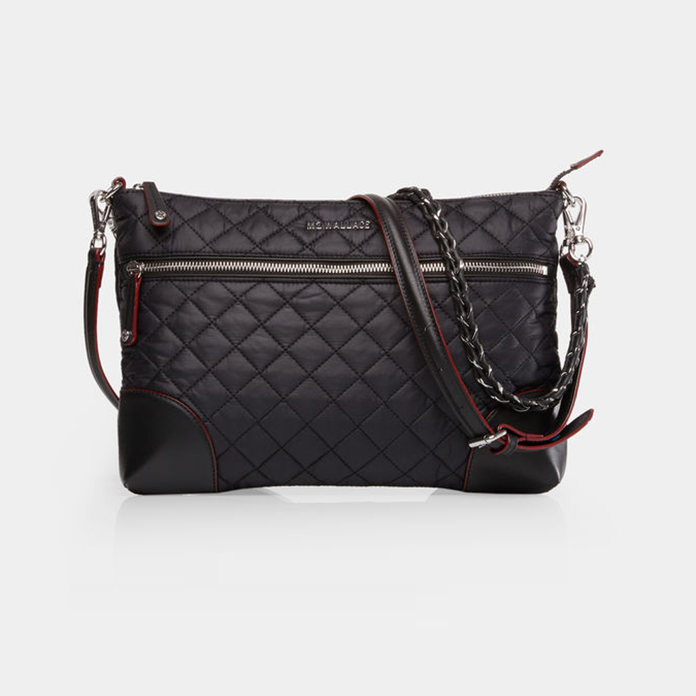 MZ Wallace Crosby Crossbody, Black with Silver Hardware