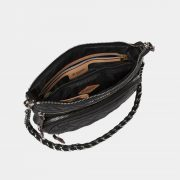 MZ Wallace Downtown Crosby Crossbody in Black with Silver Hardware