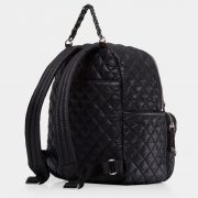 MZ Wallace Small Crosby Backpack, Black with Silver Hardware