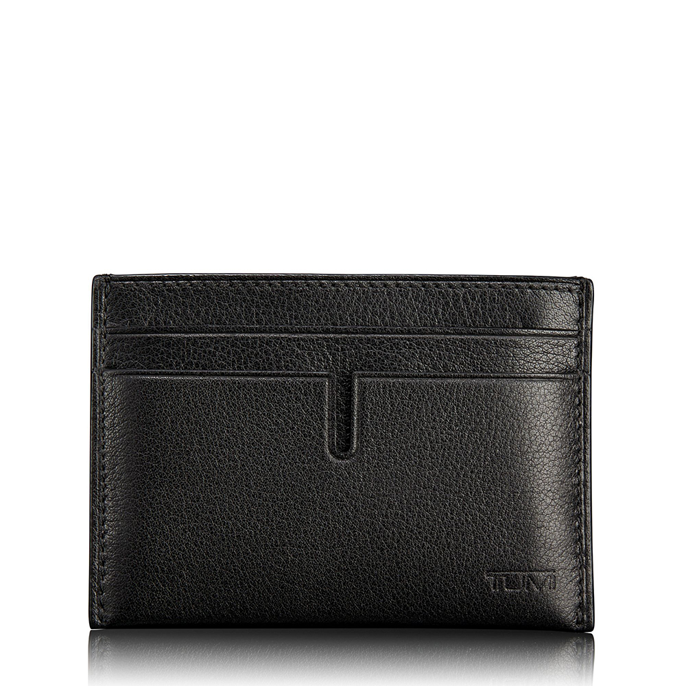 TUMI Slim Card Case Wallet, Black Textured