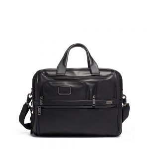 TUMI Expandable Organizer Laptop Brief Leather, Black
