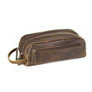 Osgoode Marley Double Zip Travel Kit in Distresses Brown