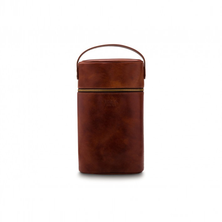 Bosca Two Bottle Wine Case in Dark Brown