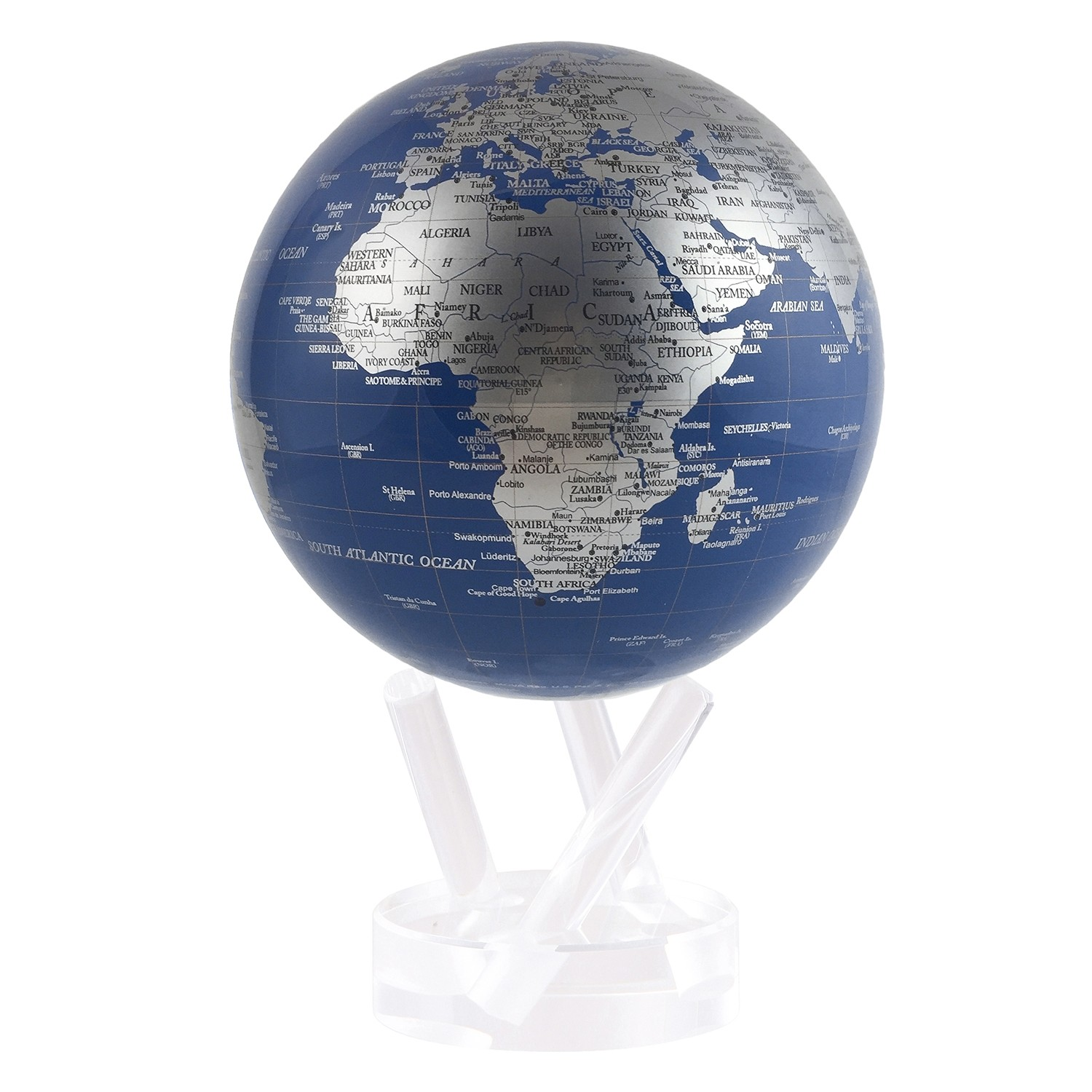 Mova Globe 4.5″ Blue & Silver Map with Acrylic Base