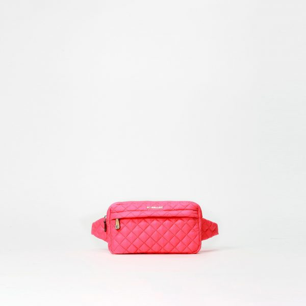 MZ Wallace Large Metro Belt Bag in Neon Pink Oxford