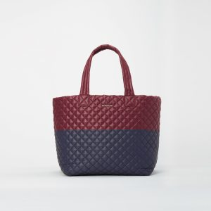 MZ Wallace Large Metro Tote Deluxe in Maroon and Navy Colorblock