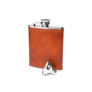Bosca Steel 6 oz Flask in Dolce – Amber