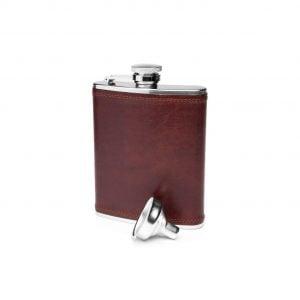Bosca Steel 6 oz Flask in Dolce – Dark Brown