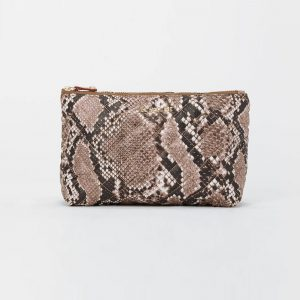 MZ Wallace Zoey Cosmetic in Brown Snake Skin