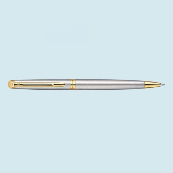 Waterman Hemisphere Stainless Steel Ballpoint in Stainless Silver with Gold Trim