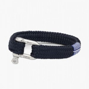 Pig & Hen Gorgeous George Rope Bracelet in Navy Silver
