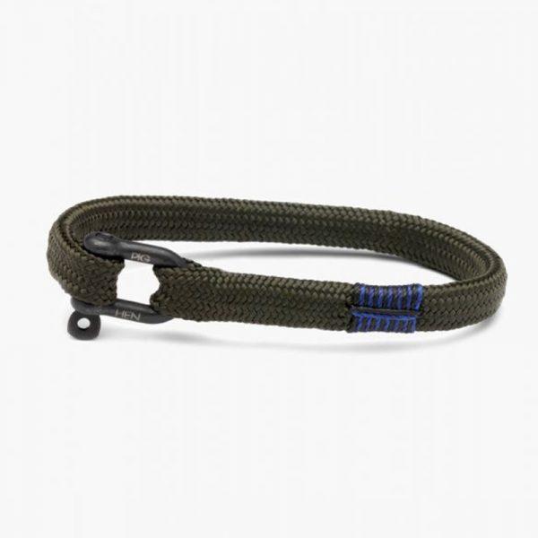 Pig & Hen Viciuos Vik Rope Bracelet in Army Black
