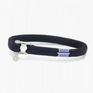 Pig & Hen Viciuos Vik Rope Bracelet in Navy Silver