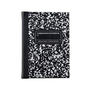 Graphic Image Composition Notebook in Black & White Leather