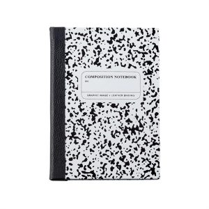 Graphic Image Composition Notebook in White & Black Leather