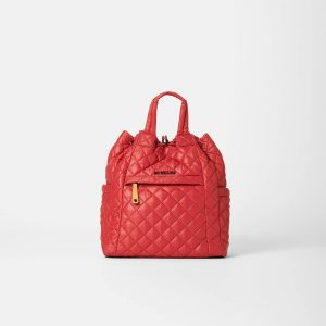 MZ Wallace Small Metro Convertible Backpack in Red Dahlia