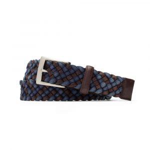 W. Kleinberg Leather Cloth Braid Belt with Brushed Nickel Buckle