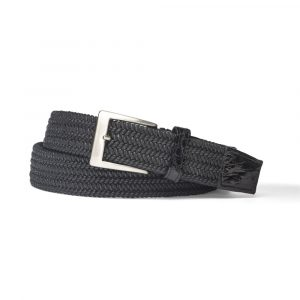 W. Kleinberg Solid Stretch Belt with Crocodile Tabs in Multiple Colors