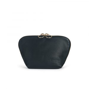 Kusshi Everyday Makeup Bag in Black Leather with Pink Interior