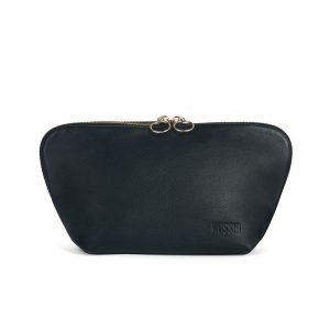 Kusshi Signature Makeup Bag in Black Leather with Pink Interior