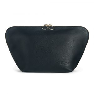 Kusshi Vacationer Makeup Bag in Black Leather with Pink Interior