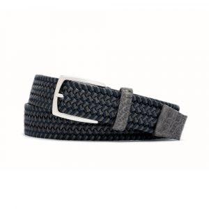 W. Kleinberg Slate Stretch Belt with Croc Tabs