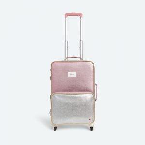 State Bags Logan Suitcase in Metallic Pink/Silver